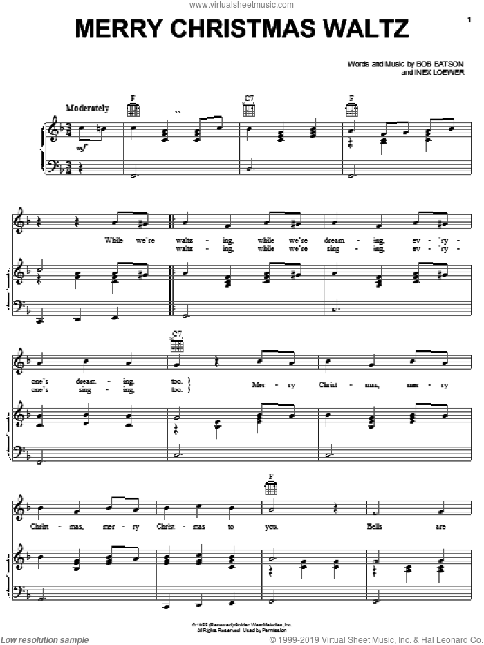 Merry Christmas Waltz sheet music for voice, piano or guitar by Bob Batson and Inex Loewer, intermediate skill level