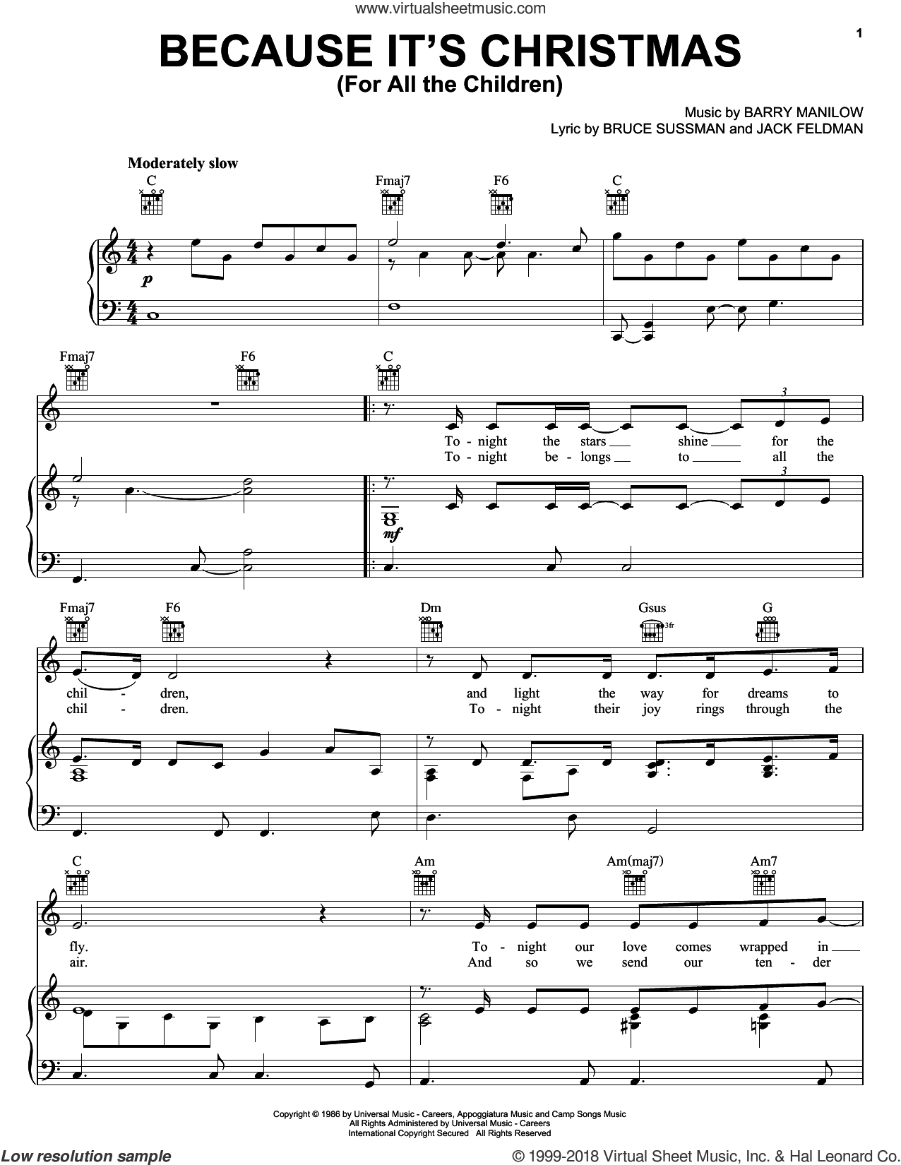 Because It's Christmas (For All The Children) sheet music for voice, piano or guitar by Jack Feldman, Barry Manilow and Bruce Sussman. Score Image Preview.