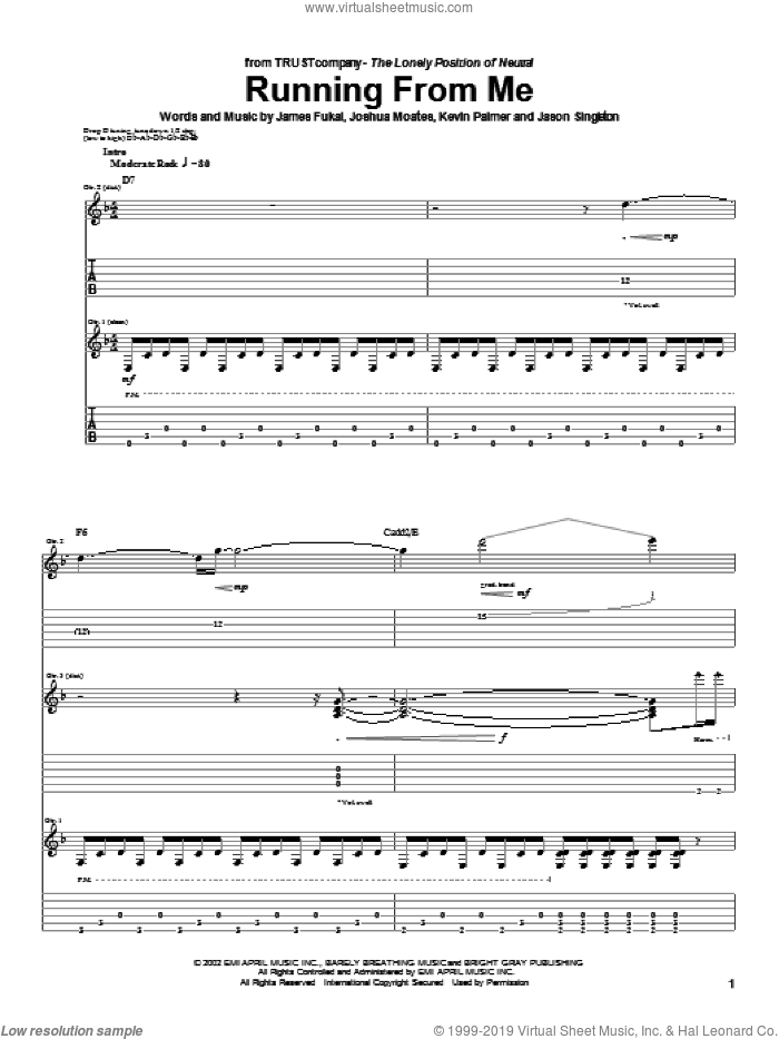Running From Me sheet music for guitar (tablature) by TRUSTcompany, James Fukai, Joshua Moates and Kevin Palmer, intermediate. Score Image Preview.