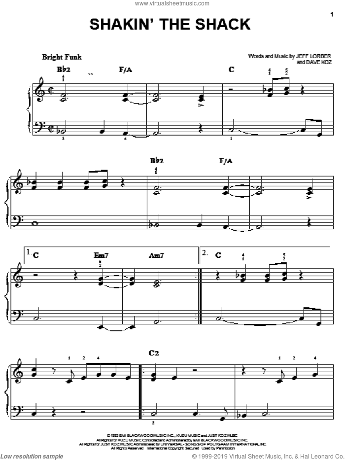 Shakin' The Shack sheet music for piano solo by Dave Koz and Jeff Lorber, easy skill level