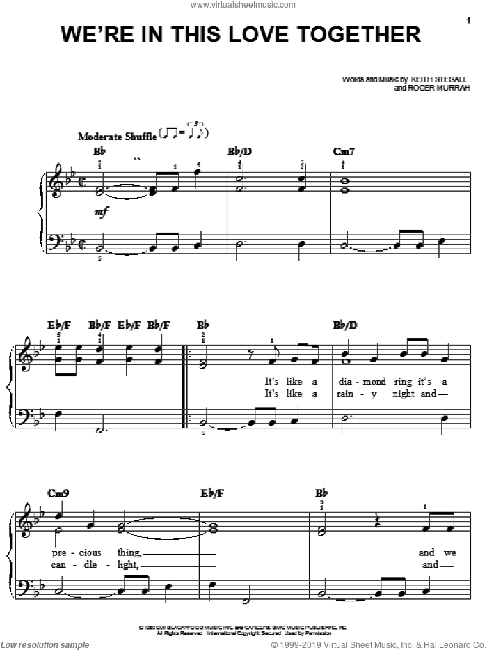 We're In This Love Together sheet music for piano solo by Al Jarreau, Keith Stegall and Roger Murrah, easy skill level