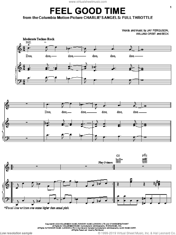 Feel Good Time sheet music for voice, piano or guitar by Beck Hansen, Miscellaneous, Jay Ferguson and William Orbit, intermediate skill level