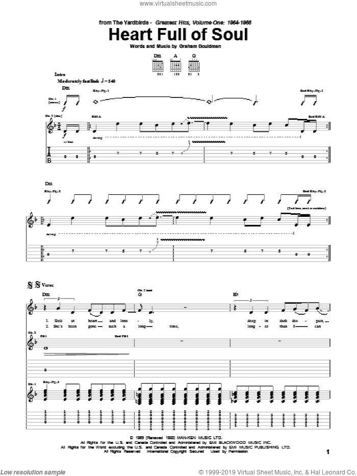 Heart Full Of Soul sheet music for guitar (tablature) by The Yardbirds and Graham Gouldman, intermediate skill level