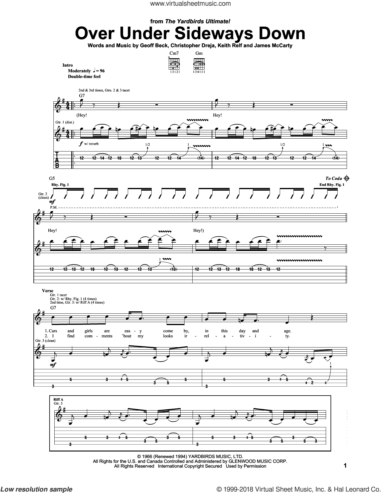 Over Under Sideways Down sheet music for guitar (tablature) by The Yardbirds, Christopher Dreja, Geoff Beck and James McCarty, intermediate skill level