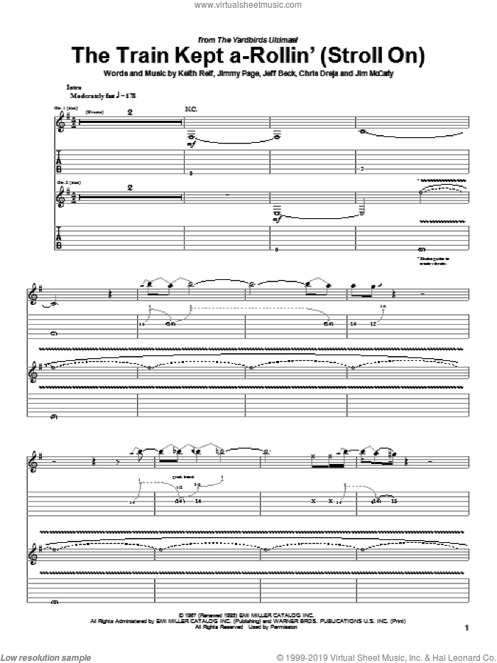 The Train Kept A-Rollin' (Stroll On) sheet music for guitar (tablature) by Keith Relf, Jeff Beck and Jimmy Page. Score Image Preview.
