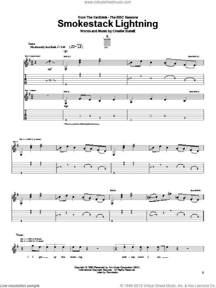 Smokestack Lightning sheet music for guitar (tablature) by The Yardbirds, Eric Clapton and Chester Burnett, intermediate skill level