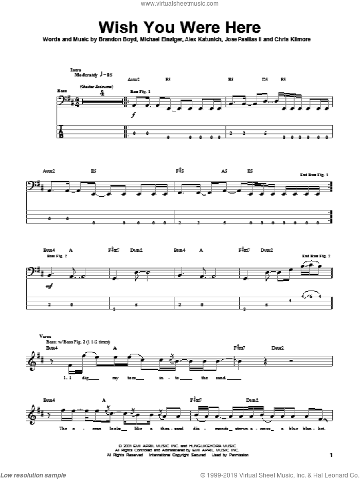 Wish You Were Here sheet music for bass (tablature) (bass guitar) by Incubus, Alex Katunich, Brandon Boyd and Michael Einziger, intermediate skill level