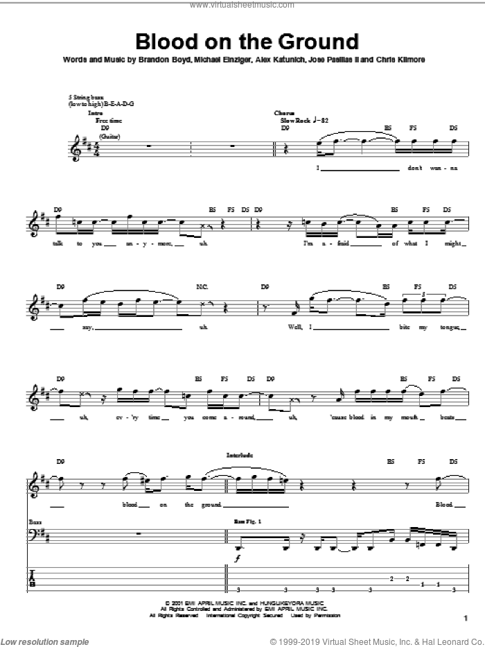 Blood On The Ground sheet music for bass (tablature) (bass guitar) by Incubus. Score Image Preview.