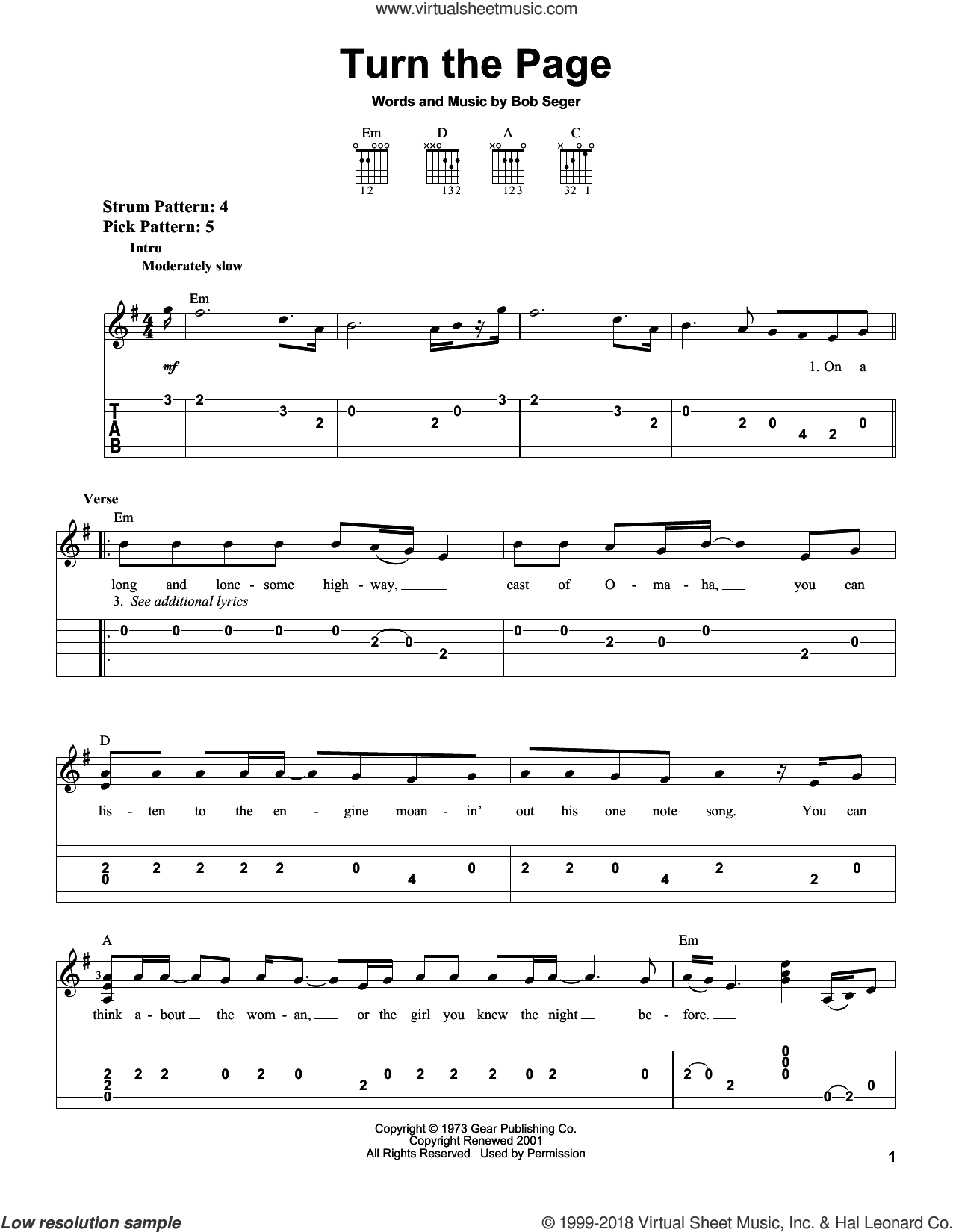 Turn The Page sheet music for guitar solo (easy tablature) by Bob Seger and Metallica, easy guitar (easy tablature)