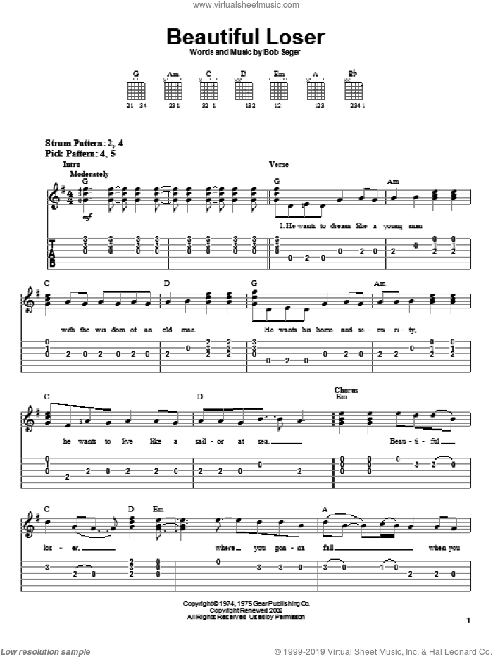 Beautiful Loser sheet music for guitar solo (easy tablature) by Bob Seger, easy guitar (easy tablature)