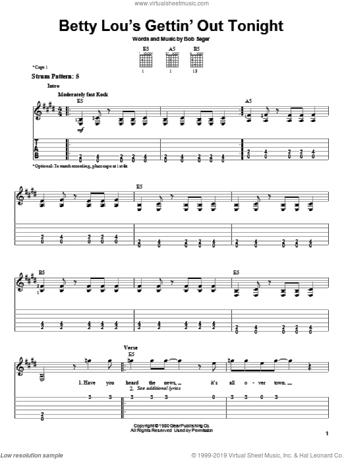 Betty Lou's Gettin' Out Tonight sheet music for guitar solo (easy tablature) by Bob Seger, easy guitar (easy tablature)