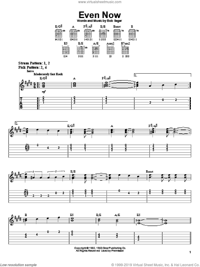 Even Now sheet music for guitar solo (easy tablature) by Bob Seger, easy guitar (easy tablature)