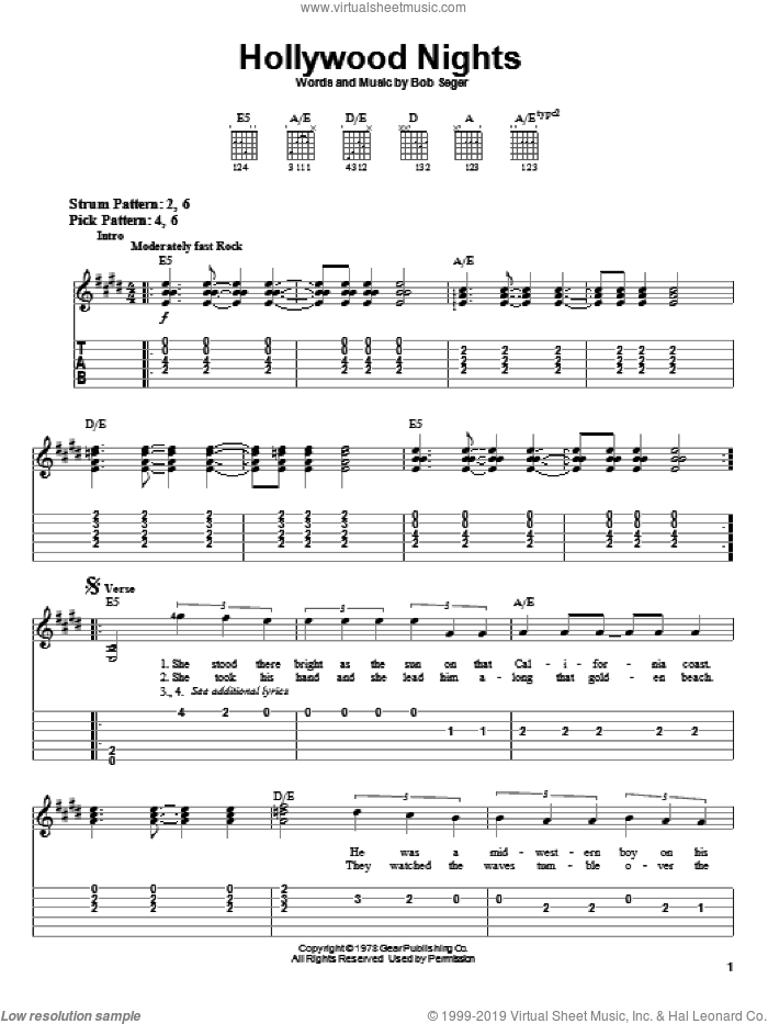 Hollywood Nights sheet music for guitar solo (easy tablature) by Bob Seger, easy guitar (easy tablature)