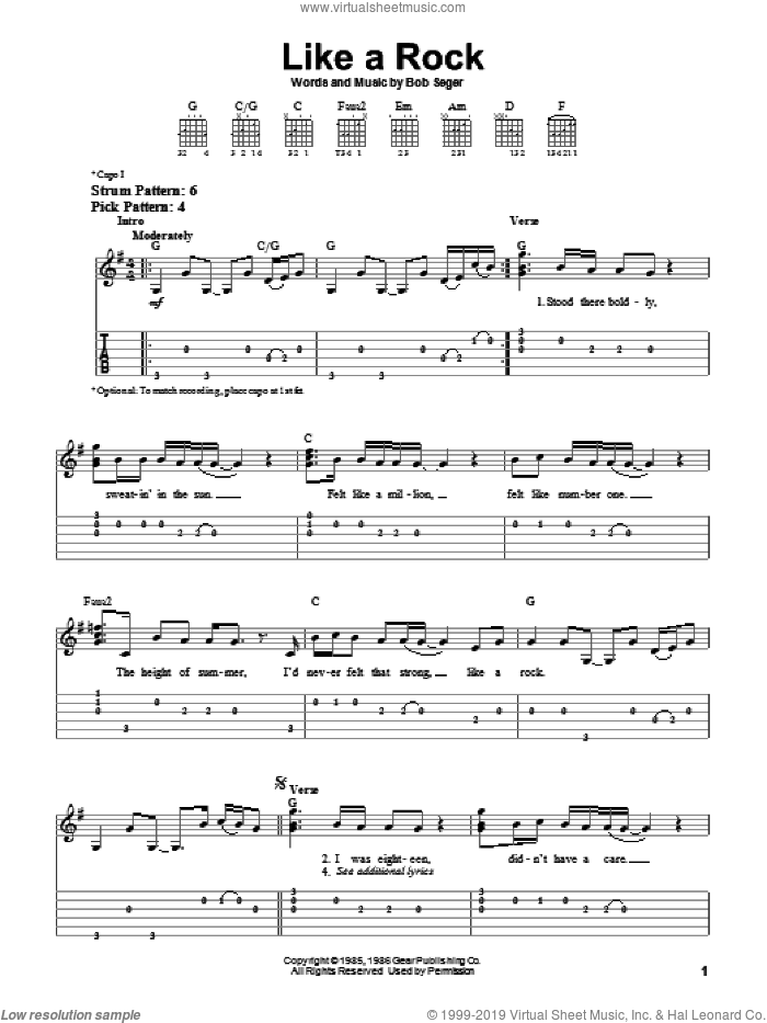 Like A Rock sheet music for guitar solo (easy tablature) by Bob Seger, easy guitar (easy tablature)