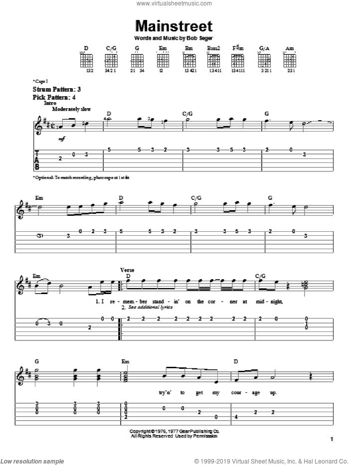 Mainstreet sheet music for guitar solo (easy tablature) by Bob Seger, easy guitar (easy tablature)