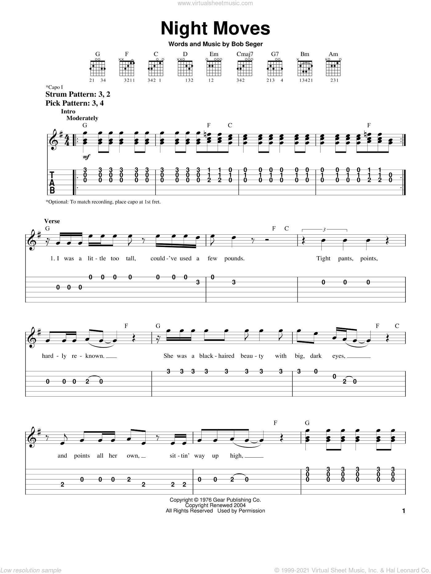 Night Moves sheet music for guitar solo (easy tablature) by Bob Seger, easy guitar (easy tablature)