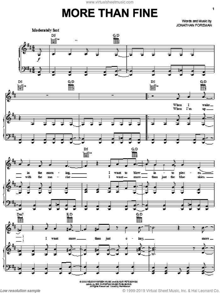 More Than Fine sheet music for voice, piano or guitar by Switchfoot and Jonathan Foreman, intermediate. Score Image Preview.