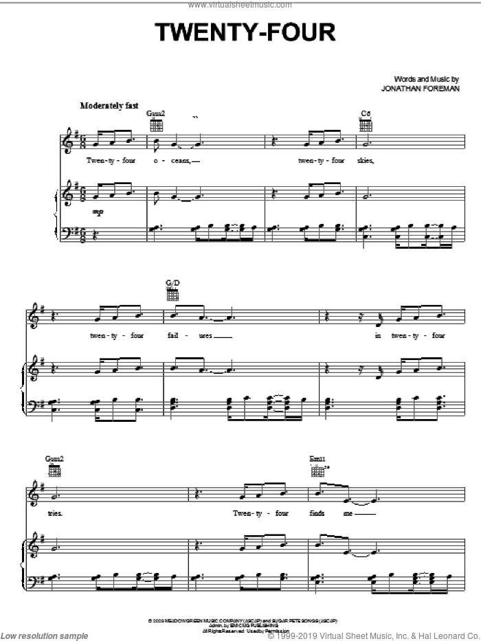 Twenty-Four sheet music for voice, piano or guitar by Switchfoot and Jonathan Foreman, intermediate skill level