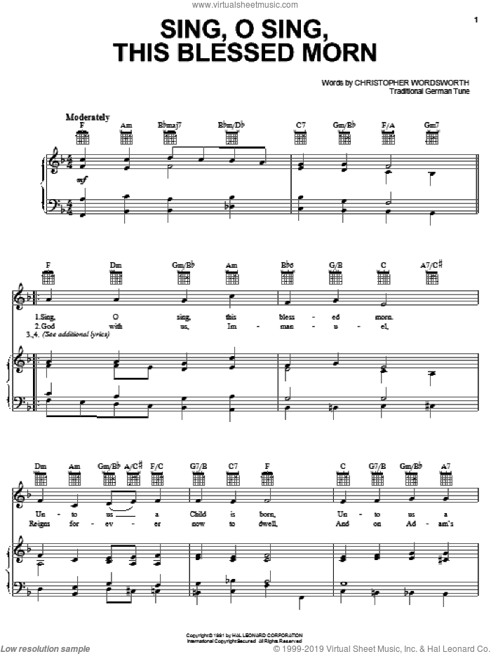 Sing, O Sing, This Blessed Morn sheet music for voice, piano or guitar by Christopher Wordsworth and Miscellaneous, intermediate skill level