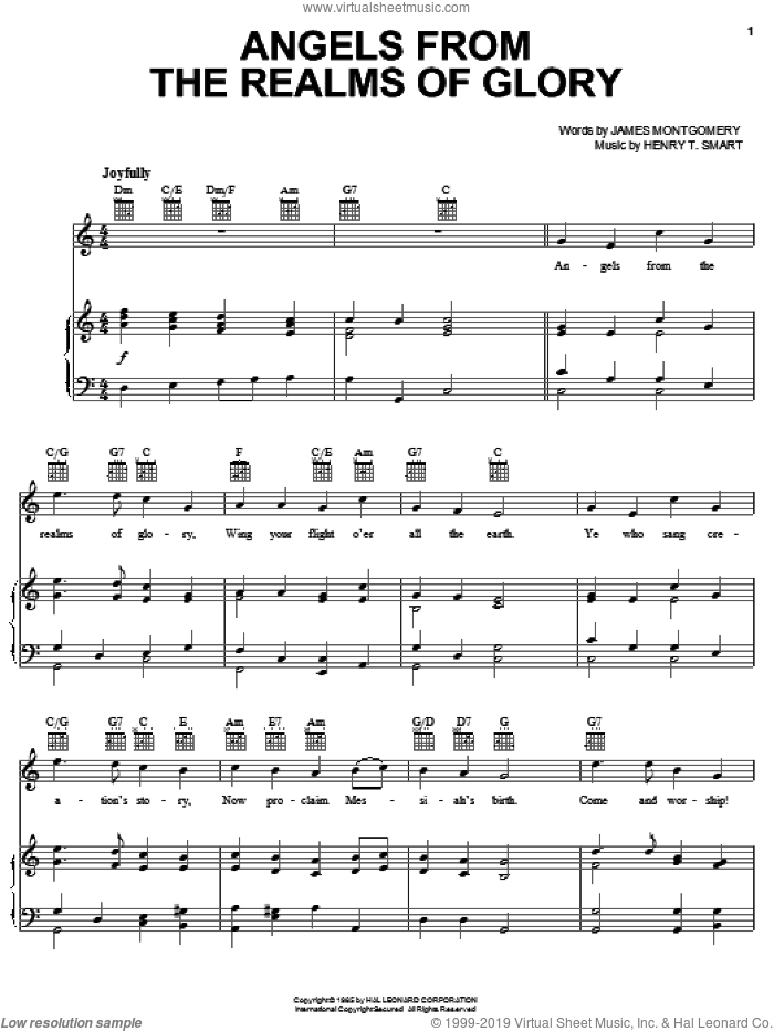 Angels From The Realms Of Glory sheet music for voice, piano or guitar by James Montgomery and Henry T. Smart. Score Image Preview.