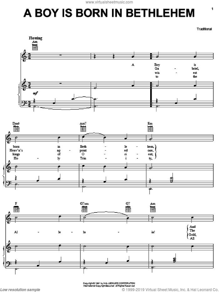 A Boy Is Born In Bethlehem sheet music for voice, piano or guitar, Christmas carol score, intermediate voice, piano or guitar. Score Image Preview.