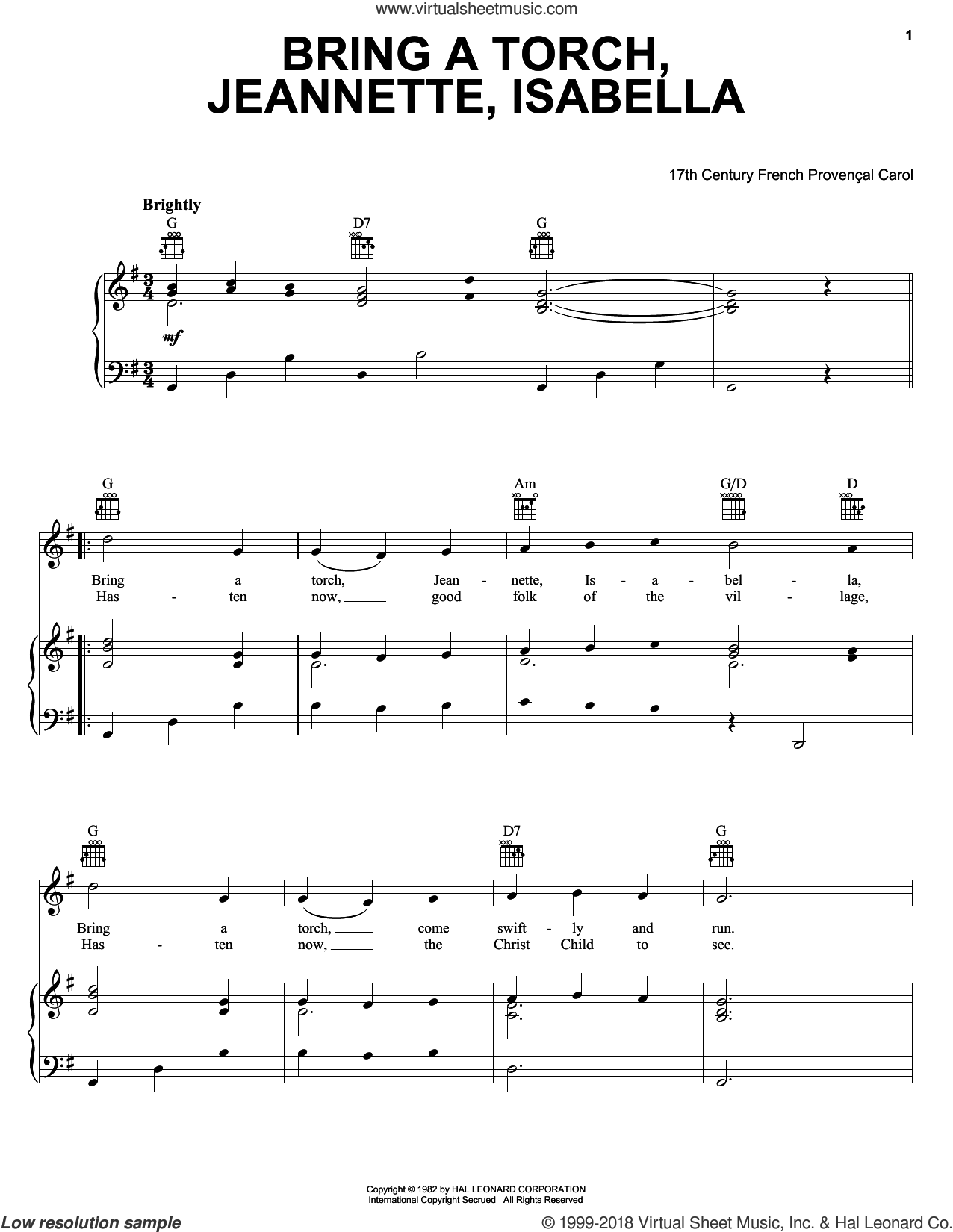 Bring A Torch, Jeannette Isabella sheet music for voice, piano or guitar by Anonymous