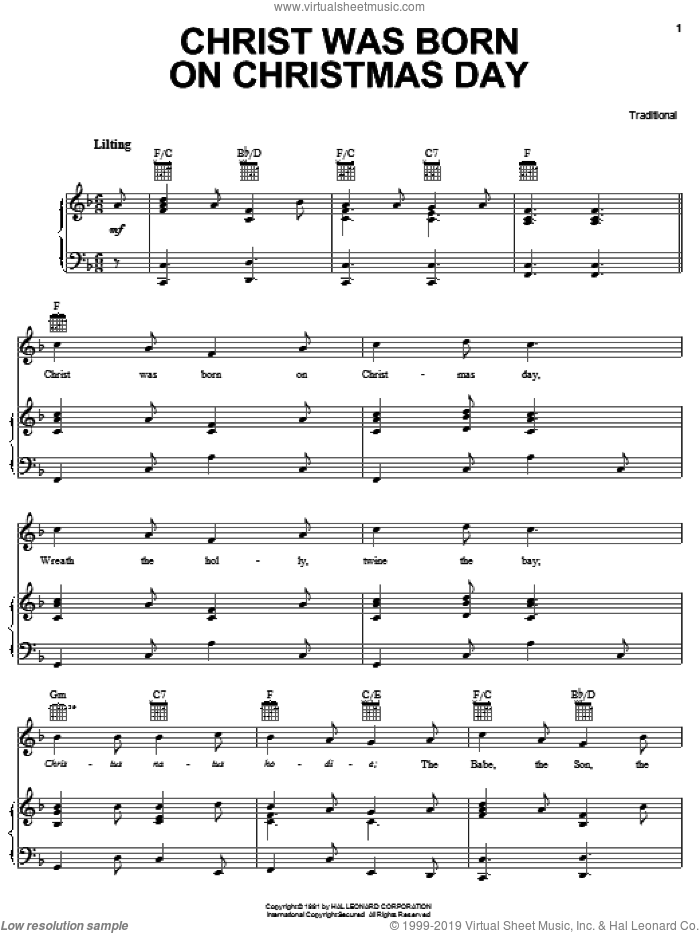 Christ Was Born On Christmas Day sheet music for voice, piano or guitar, classical score, intermediate skill level