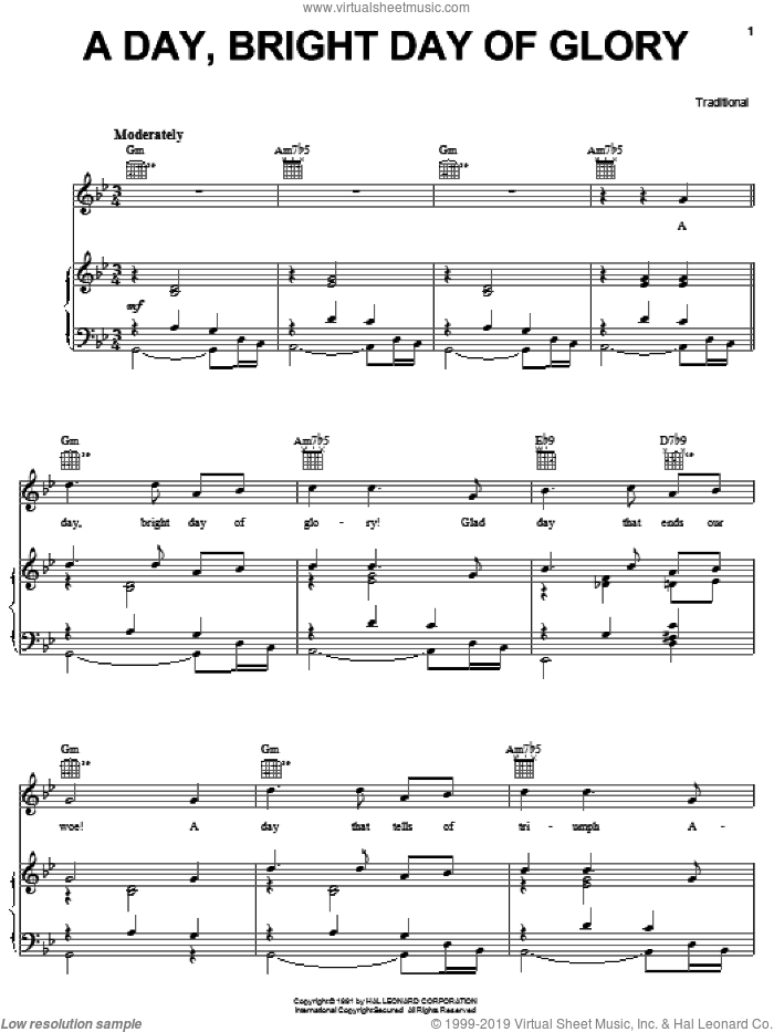 A Day, Bright Day Of Glory sheet music for voice, piano or guitar, intermediate. Score Image Preview.