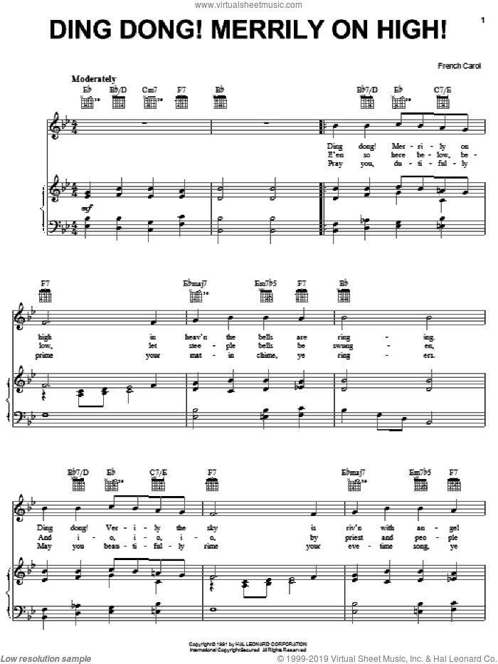 Ding Dong! Merrily On High! sheet music for voice, piano or guitar. Score Image Preview.