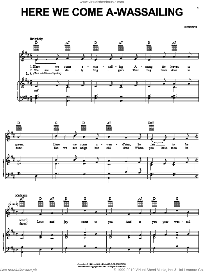 Here We Come A-Wassailing sheet music for voice, piano or guitar, intermediate skill level