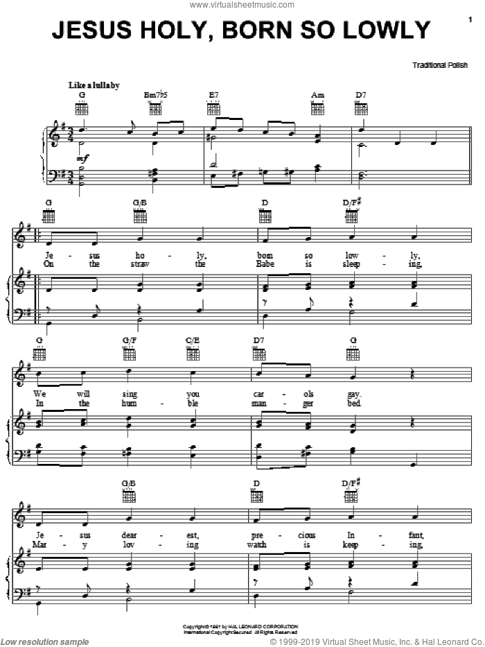 Jesus Holy, Born So Lowly sheet music for voice, piano or guitar, intermediate skill level