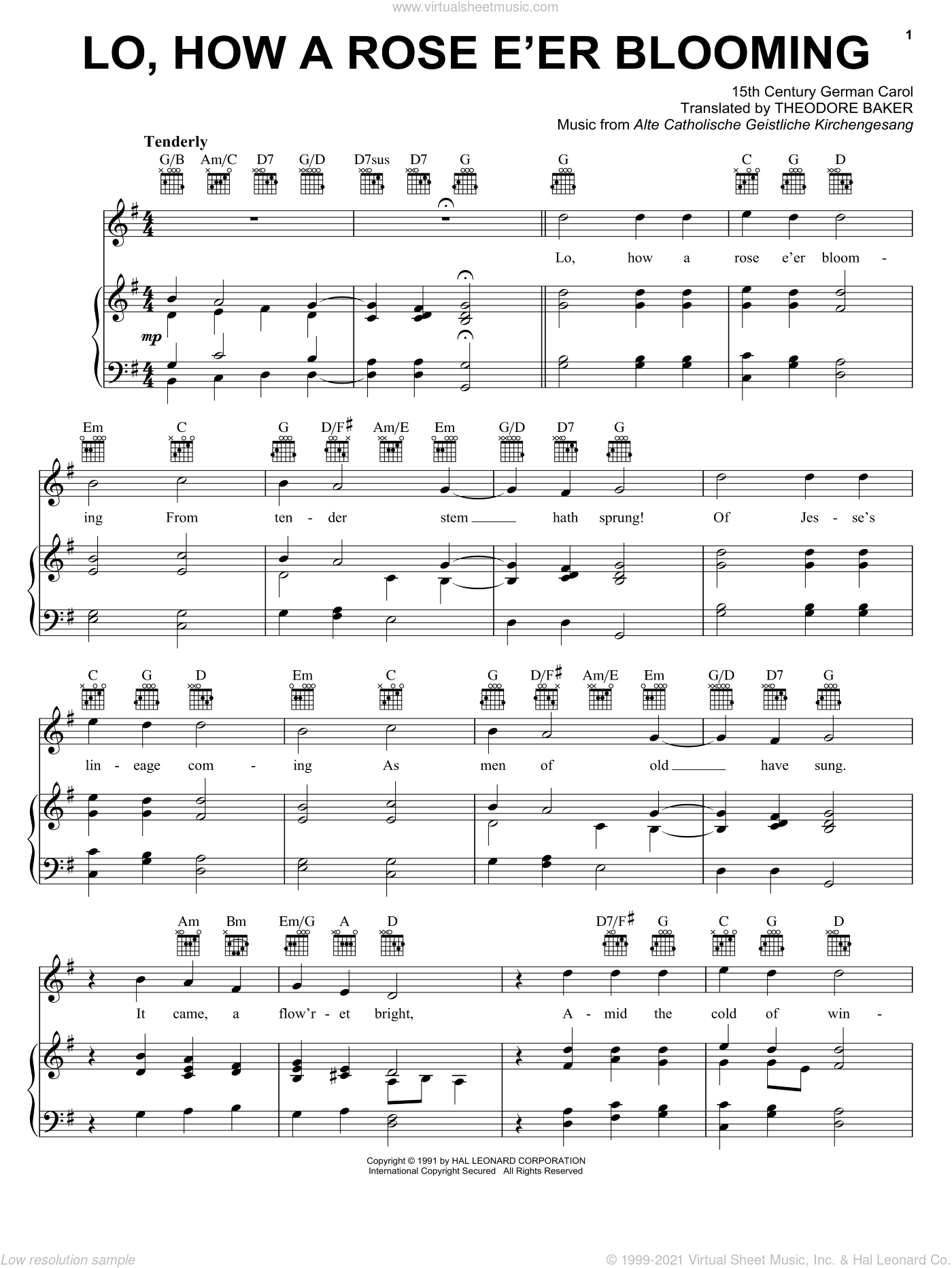 Lo, How A Rose E'er Blooming sheet music for voice, piano or guitar by Alte Catholische Geistliche Ki, 15th Century German Carol and Theodore Baker, classical score, intermediate skill level