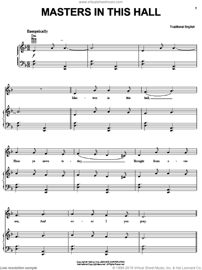Masters In This Hall sheet music for voice, piano or guitar, intermediate. Score Image Preview.