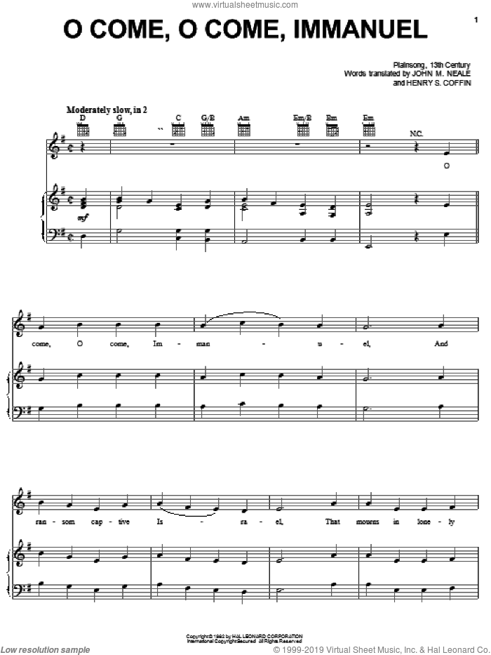 O Come, O Come Immanuel sheet music for voice, piano or guitar by Henry S. Coffin