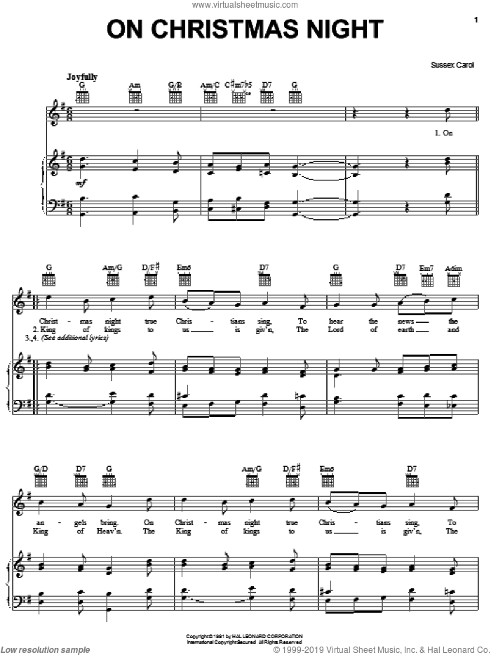 On Christmas Night sheet music for voice, piano or guitar, intermediate skill level