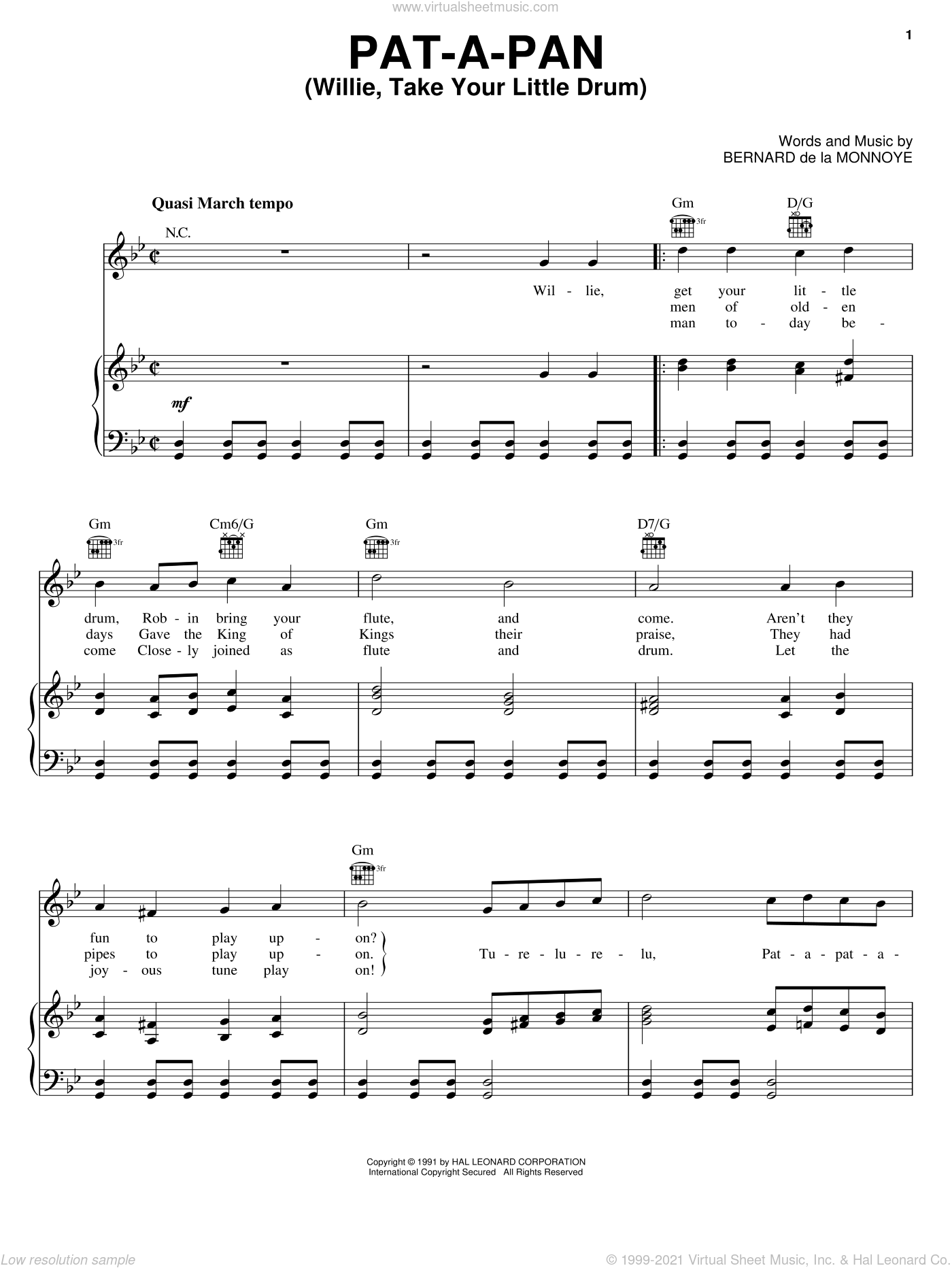 Pat-A-Pan (Willie, Take Your Little Drum) sheet music for voice, piano or guitar by Bernard de la Monnoye. Score Image Preview.