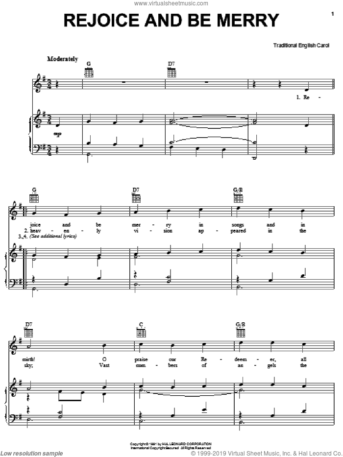 Rejoice And Be Merry sheet music for voice, piano or guitar by Gallery Carol, intermediate skill level