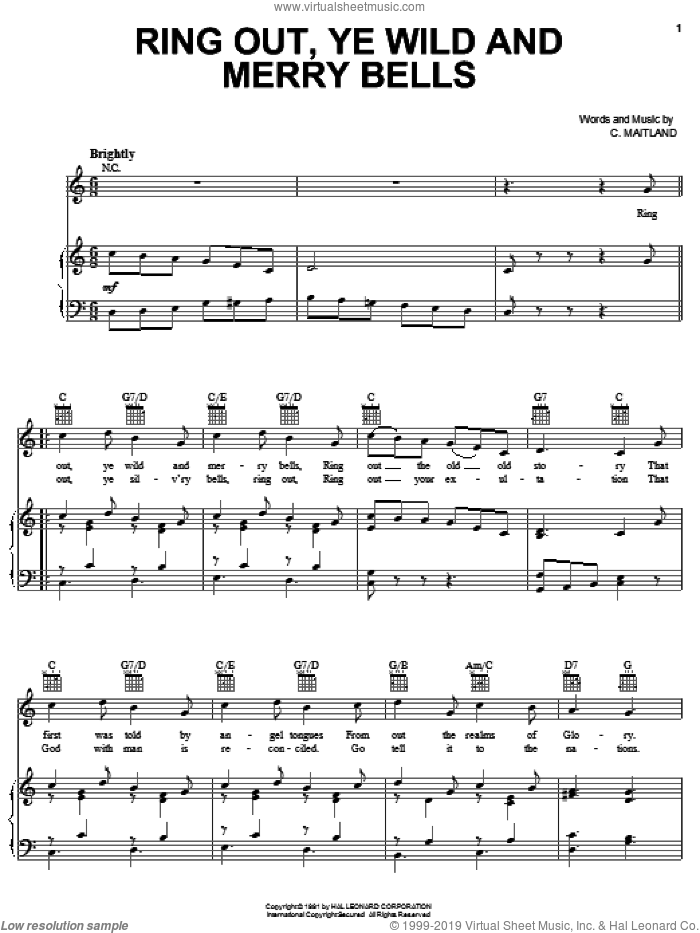 Ring Out, Ye Wild And Merry Bells sheet music for voice, piano or guitar by C. Maitland, intermediate. Score Image Preview.