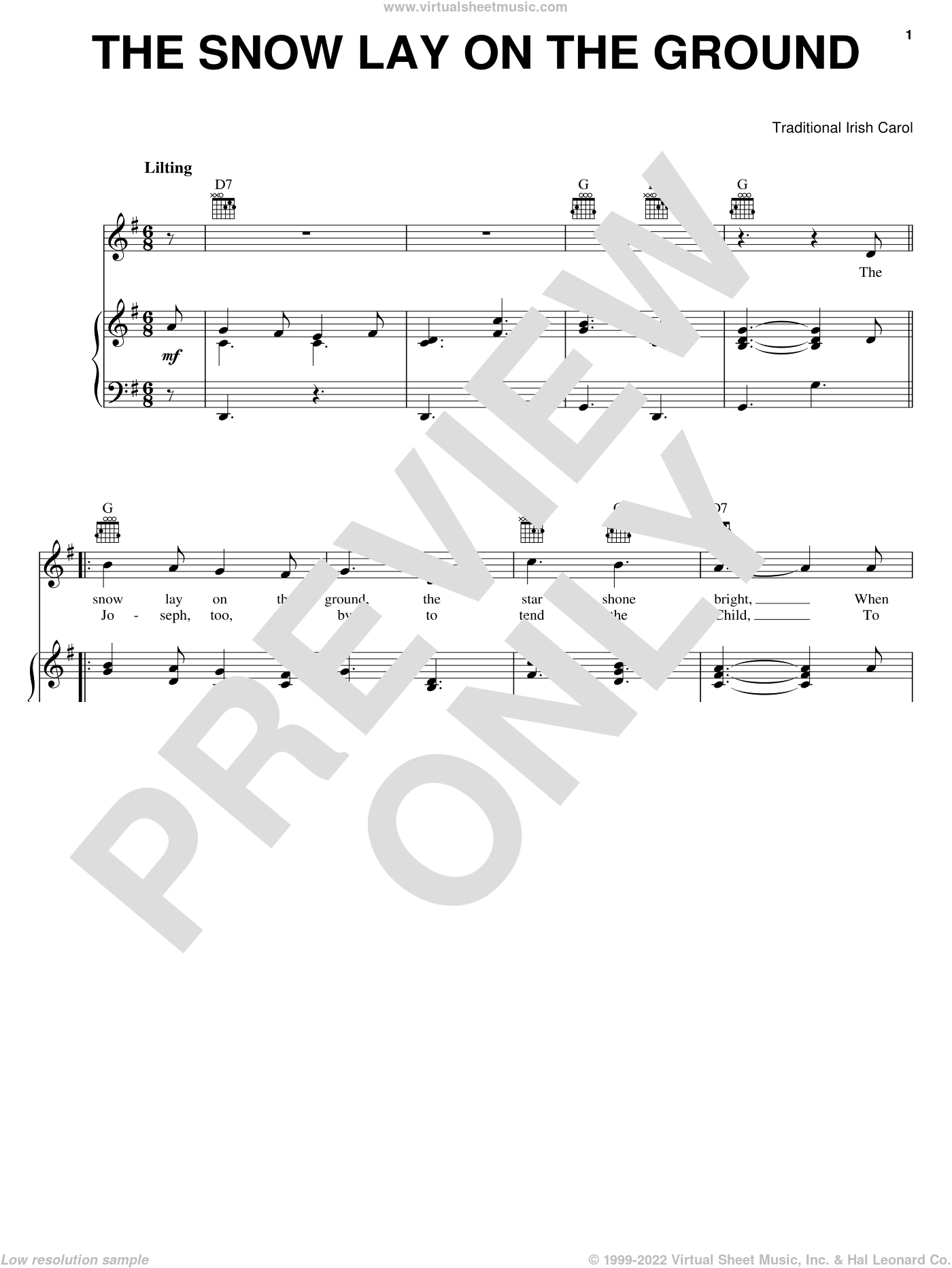 The Snow Lay On The Ground sheet music for voice, piano or guitar, Christmas carol score, intermediate voice, piano or guitar. Score Image Preview.