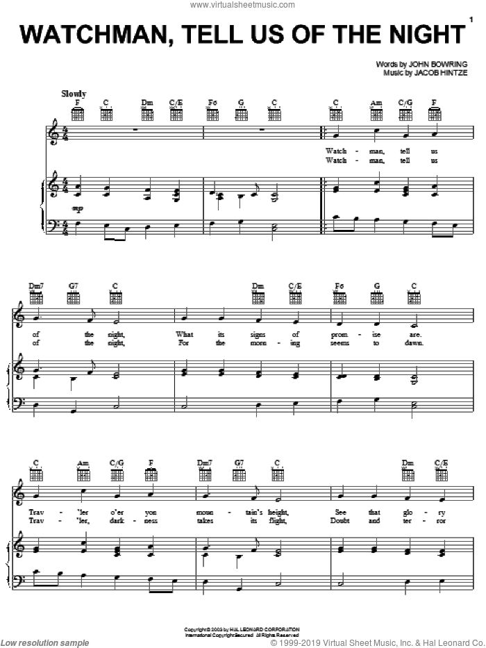 Watchman, Tell Us Of The Night sheet music for voice, piano or guitar, intermediate skill level