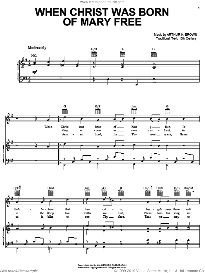 When Christ Was Born Of Mary Free sheet music for voice, piano or guitar by Arthur H. Brown and Miscellaneous, intermediate. Score Image Preview.