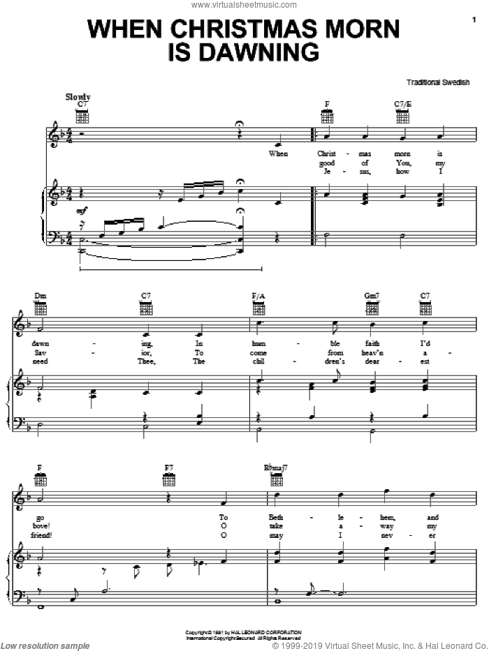 When Christmas Morn Is Dawning sheet music for voice, piano or guitar, intermediate skill level