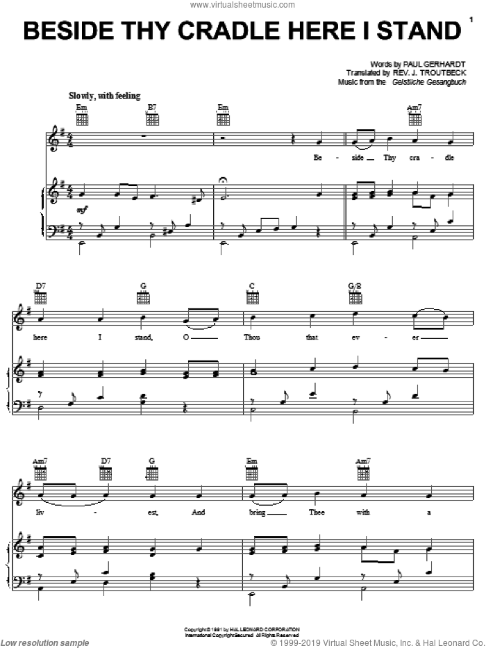 Beside Thy Cradle Here I Stand sheet music for voice, piano or guitar by John Troutbeck
