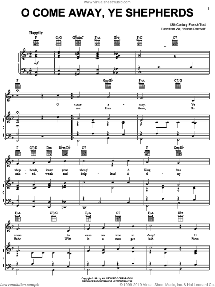 O Come Away, Ye Shepherds sheet music for voice, piano or guitar by Anonymous. Score Image Preview.