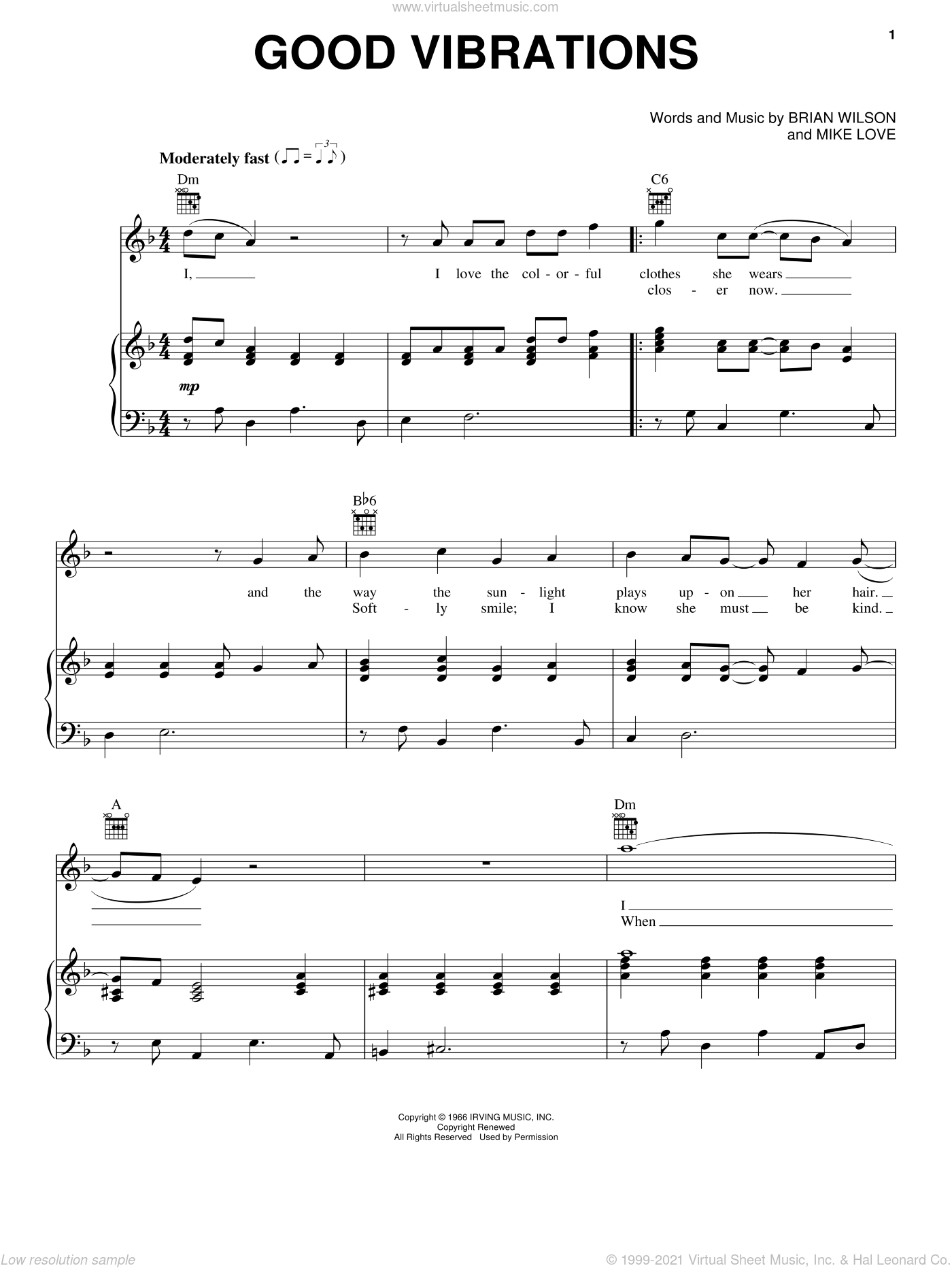 Good Vibrations sheet music for voice, piano or guitar by Mike Love, The Beach Boys and Brian Wilson. Score Image Preview.