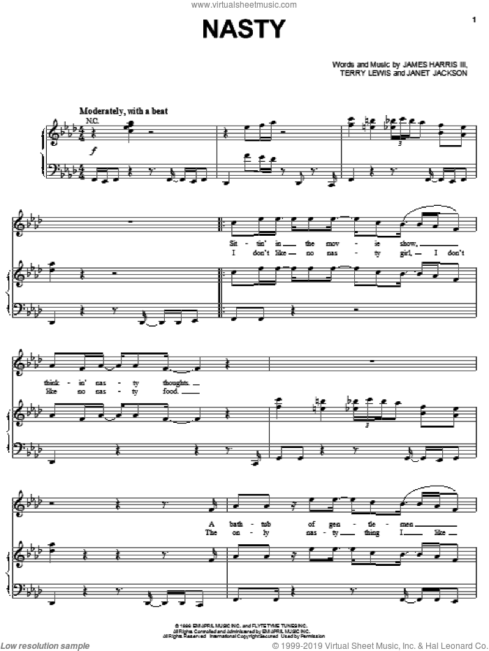 Nasty sheet music for voice, piano or guitar by Terry Lewis, Janet Jackson and James Harris. Score Image Preview.