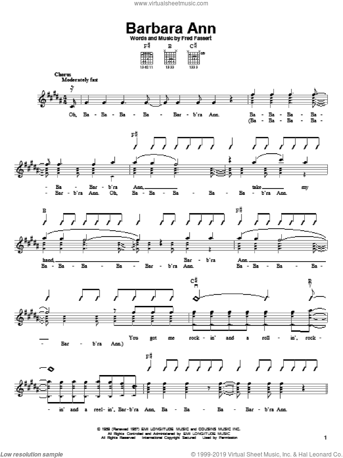 Barbara Ann sheet music for guitar solo (chords) by Fred Fassert and The Beach Boys. Score Image Preview.