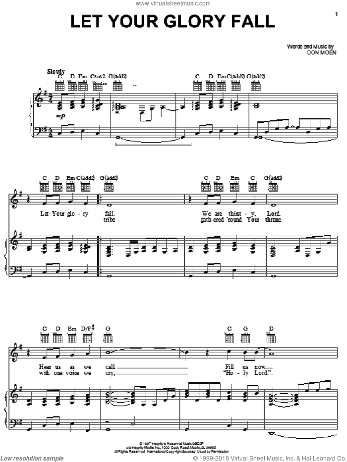 Let Your Glory Fall sheet music for voice, piano or guitar by Don Moen, intermediate. Score Image Preview.