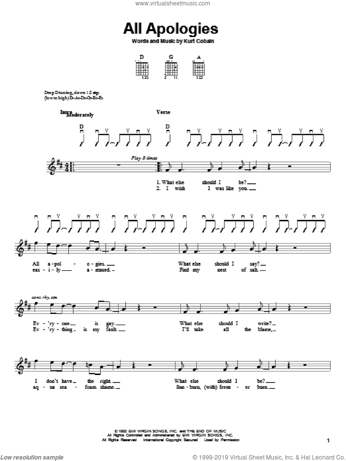 All Apologies sheet music for guitar solo (chords) by Kurt Cobain and Nirvana. Score Image Preview.