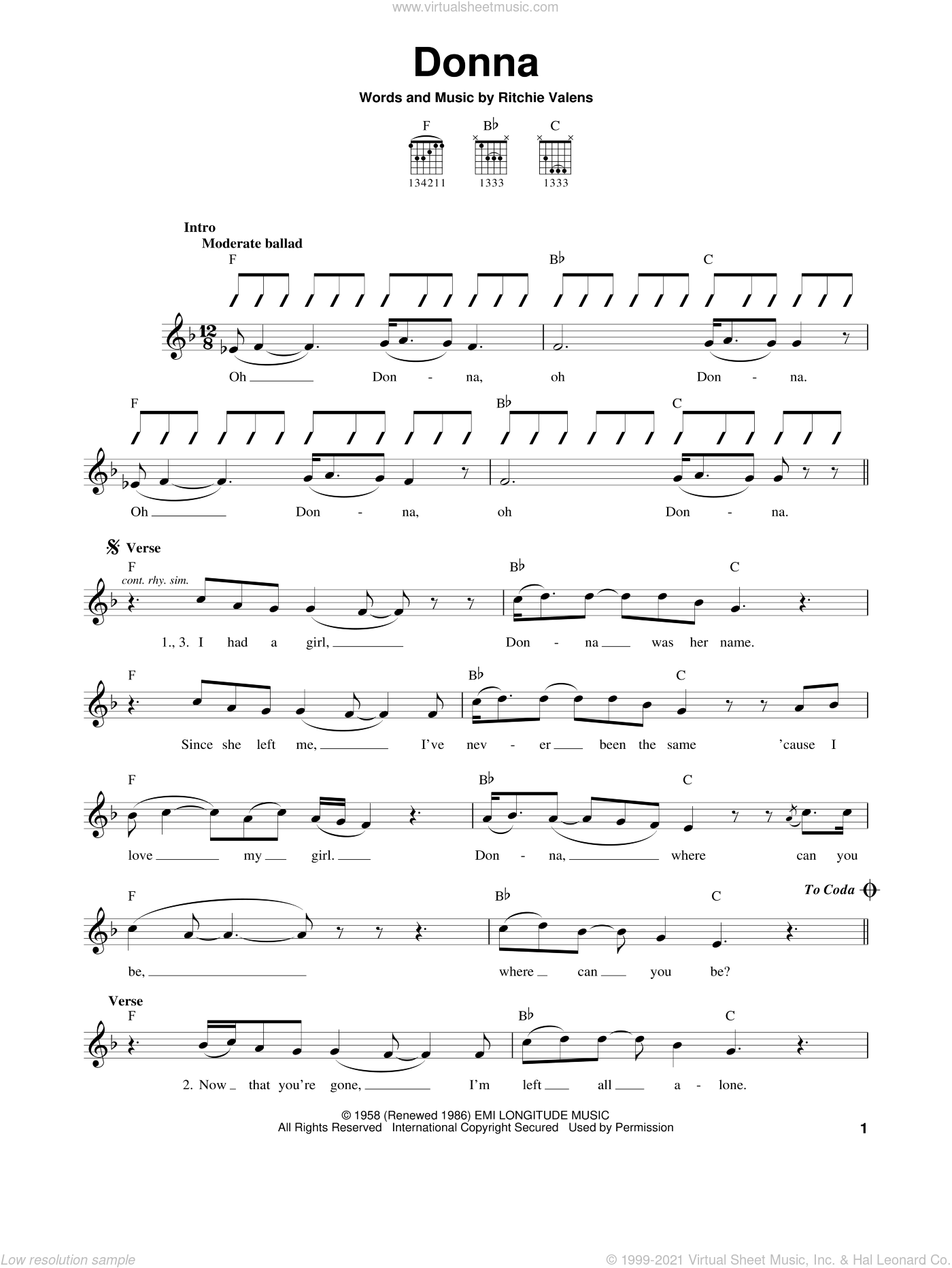 Donna sheet music for guitar solo (chords) by Ritchie Valens, easy guitar (chords)